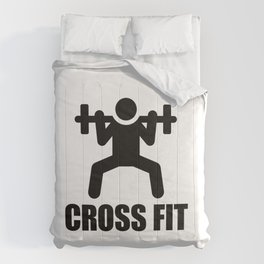 Cross Fit barbell lifting icon Comforters