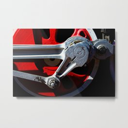 Eccentric And Main Rod Of A Driving Wheel Of A Vintage Steam Engine Locomotive Metal Print