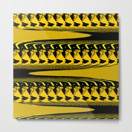 BRIGHT YELLOW AND BLACK PATTERN 3D EFFECT FOR FUNKY DECOR Metal Print