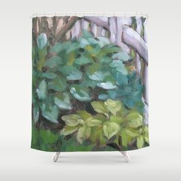 hostas by the fence Shower Curtain