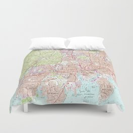 Stamford Connecticut Map (1987) Duvet Cover