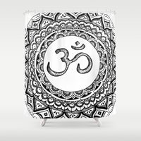 om Shower Curtains featuring OM by Fie Bystrup
