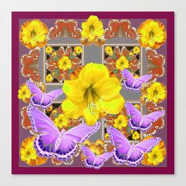 LILAC BUTTERFLIES & YELLOW AMARYLLIS FLOWERS Canvas Print