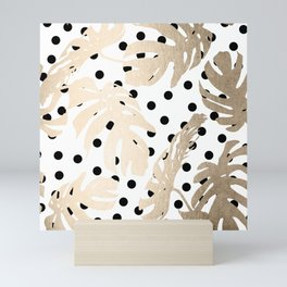 Simply Tropical White Gold Sands Palm Leaves on Dots Mini Art Print