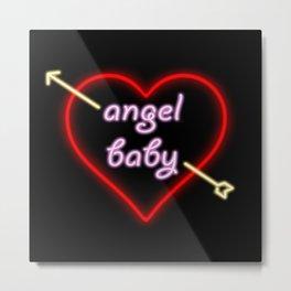 Angel Baby Neon Metal Print