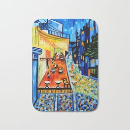 Cafe Terrace - Homage to Van Gogh Bath Mat
