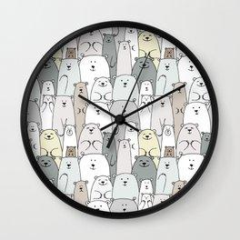 Bear family cartoon Wall Clock