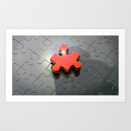 3D Lonely Red Puzzle Piece Ultra HD Art Print