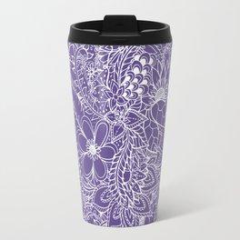 Modern white handdrawn floral pattern on purple ultra violet illustration Travel Mug