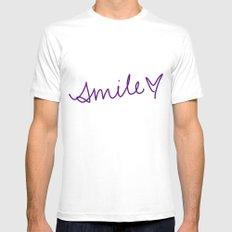 Purple Smile MEDIUM White Mens Fitted Tee