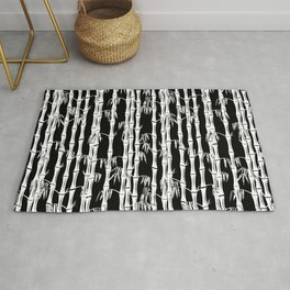 Bamboo Forest Pattern - Black White Grey Rug