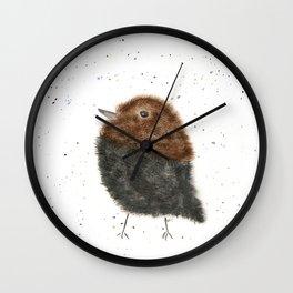 Whimsical Cowbird Watercolor Wall Clock
