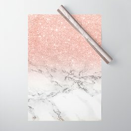 Modern faux rose gold pink glitter ombre white marble Wrapping Paper