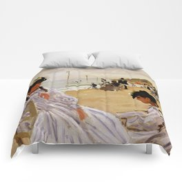 On the Beach at Trouville by Claude Monet Comforters