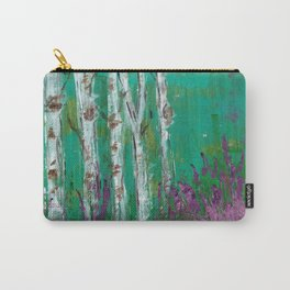 Birch Trees in a Lavender Field Carry-All Pouch