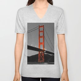 Golden Gate Bridge in Selective Black and White Unisex V-Neck