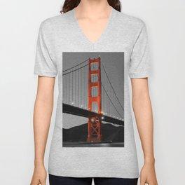 Golden Gate Bridge in Selective Black and White Unisex V-Neck