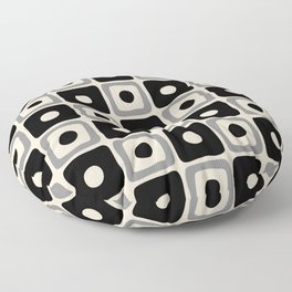 Mid Century Modern Square Dot Pattern 771 Black and Gray Floor Pillow