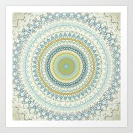 Light Yellow Aqua Mandala Art Print