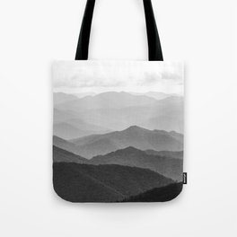 Forest Fade - Black and White Landscape Nature Photography Tote Bag