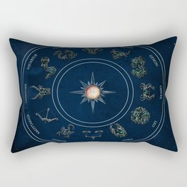 Zodiac sings on blue vintage background Rectangular Pillow