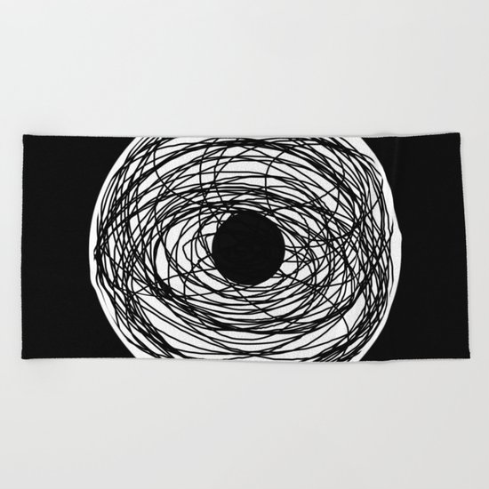Eye Of The Storm - Abstract, black and white, minimalistic, minimal artwork Beach Towel