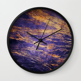 Classic Vintage Purple Faux Marble With Gold Veins Wall Clock