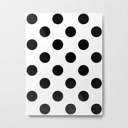 Large Polka Dots - Black on White Metal Print