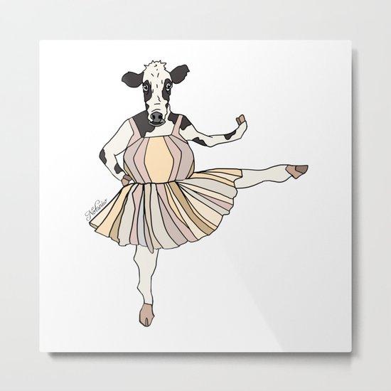 Cow Ballerina Tutu Metal Print