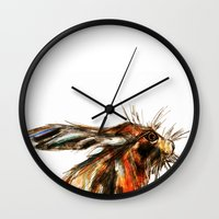 hare Wall Clocks featuring Hare by James Peart