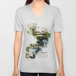 Fallingwater High, Watercolor Unisex V-Neck
