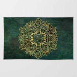 Golden Flower Mandala on Dark Green Rug