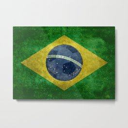 Vintage Brazilian National flag with football (soccer ball) Metal Print