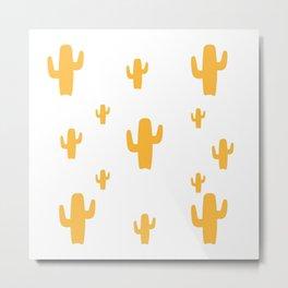 Mustard Cactus Pattern Metal Print