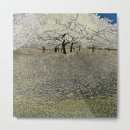 Apple Blossoms, Early Spring floral landscape painting by Gustav Klimt Metal Print