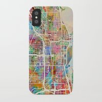 chicago map iPhone & iPod Cases featuring Chicago City Street Map by artPause
