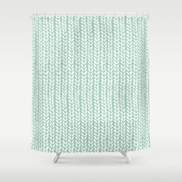 Knit Wave Mint Shower Curtain