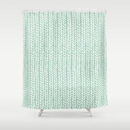 Knit Wave Mint Shower Curtain