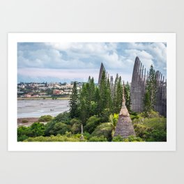 Tjibaou Cultural Centre on the seashore at low tide in Noumea. Art Print