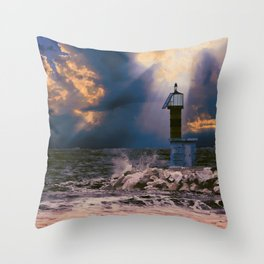 Light House in storm Throw Pillow