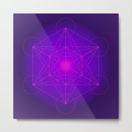 Metatron | Cube | Secret Geometry | Platonic | Matrix | Protects children Metal Print