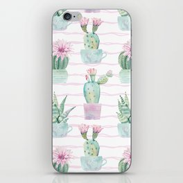 Cute Potted Cacti Stripe Pattern iPhone Skin