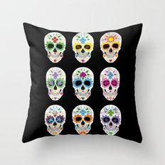 Nine skulls Throw Pillow
