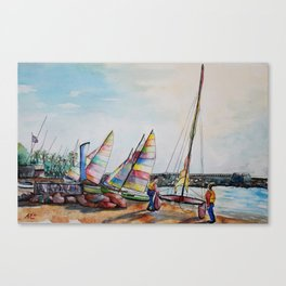 Launching catamaran in Cros de Cagnes Canvas Print