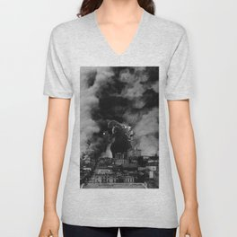 Old Time Godzilla San Francisco Fire Unisex V-Neck