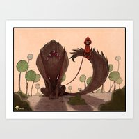 red riding hood Art Prints featuring Red Riding Hood riding 2 by Gromy