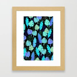 tropic leaves pattern (monstera and the bird of paradise) Framed Art Print