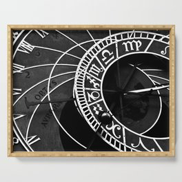Astronomical clock of Prague, black and white travel photography Serving Tray