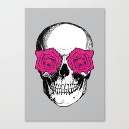 Skull and Roses | Grey and Pink Canvas Print