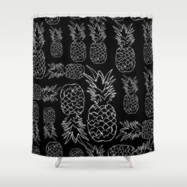 single line pineapple (white) Shower Curtain